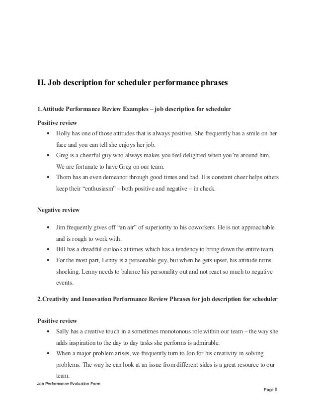 Amazing Job Description For Scheduler Performance Appraisal