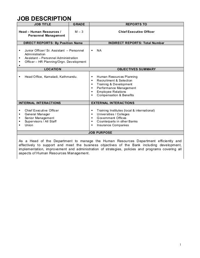 Job description example for Example of a job description template