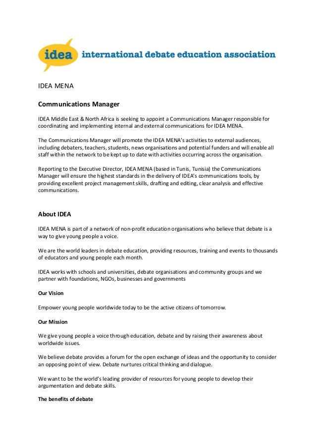 Job Description Idea Mena Communications Manager 0