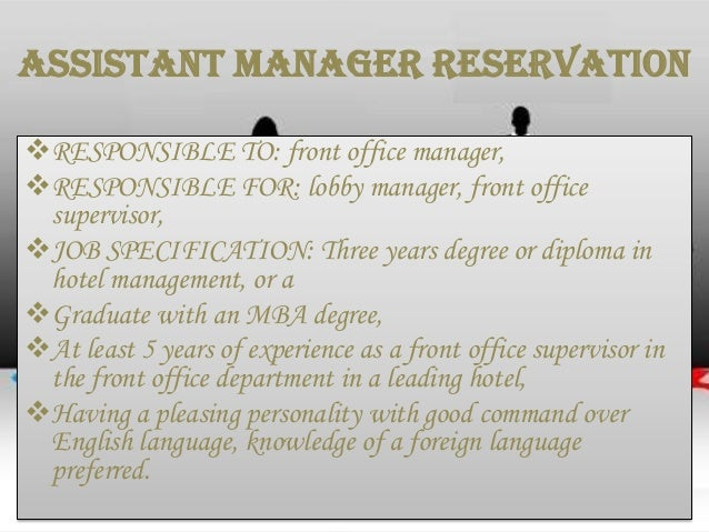Job description job specification – Hotel Front Desk Manager Job Description