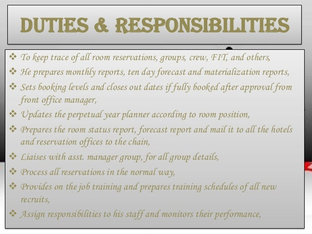 Duties U0026 Responsibilities ...