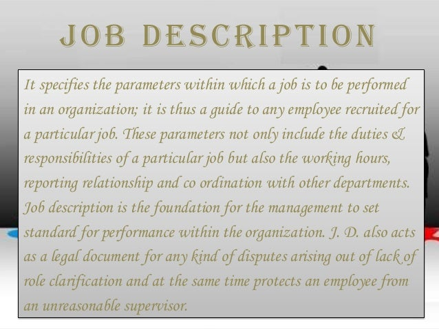 Job Description & Job Specification