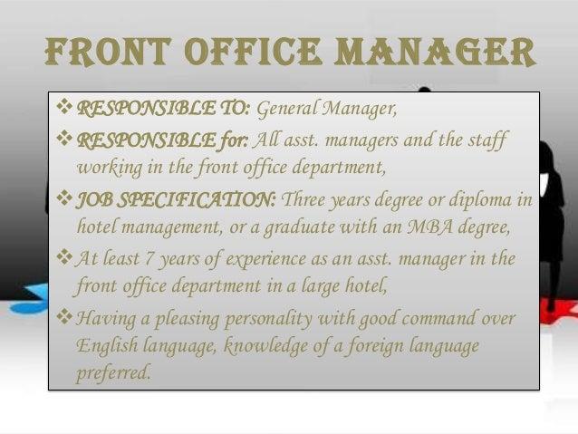 Front Desk Manager Job Description. Job Description Job Specification . Front  Desk Manager Job Description