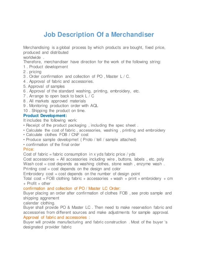 job description of a merchandiser. Resume Example. Resume CV Cover Letter