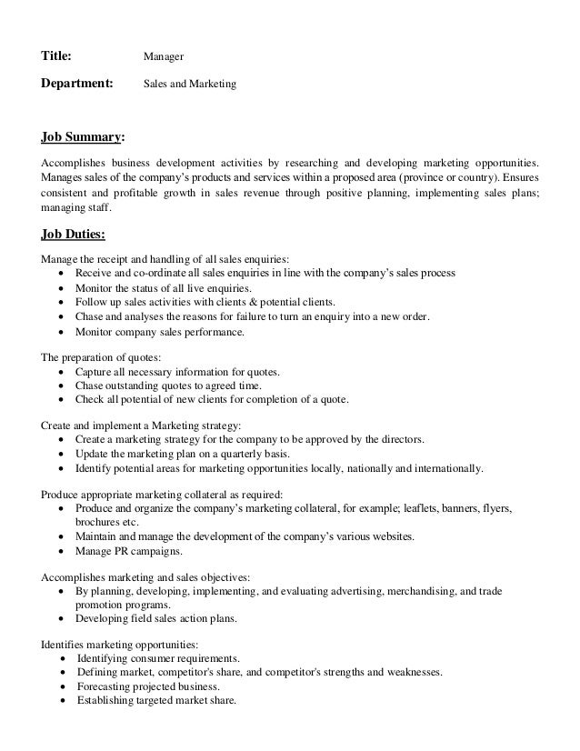Title: Manager Department: Sales And Marketing Job Summary: Accomplishes  Business Development Activities By ...
