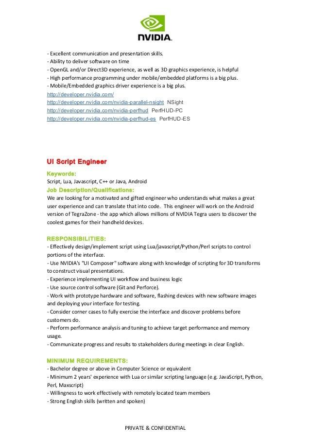 Job Description Of Nvidia Hiring 2013 Q4