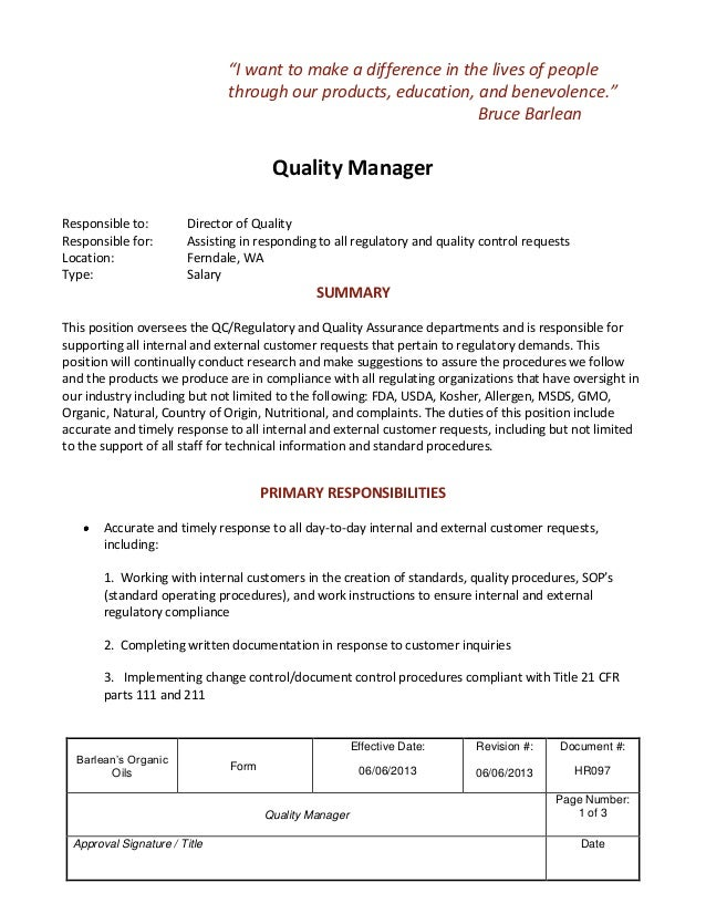 Job Description: Quality Manager. Barleanu0027s OrganicOilsFormEffective  Date:06/06/2013Revision #:06/06/2013Document Barleanu0027s  OrganicOilsFormEffective ...