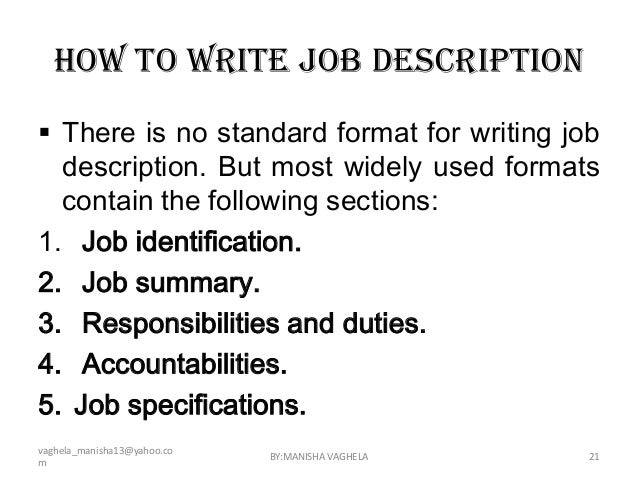 Elegant How To Write A Job Description For A Resumes. Job Descriptions . How To  Write A Job ... For How To Write A Job Summary