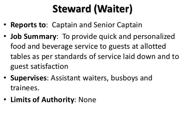 food and beverage service job description