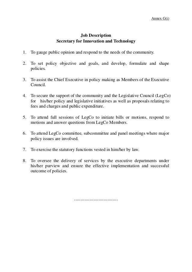Job descriptions of Secretary Under Secretary for Innovation and Te – Secretary Job Description