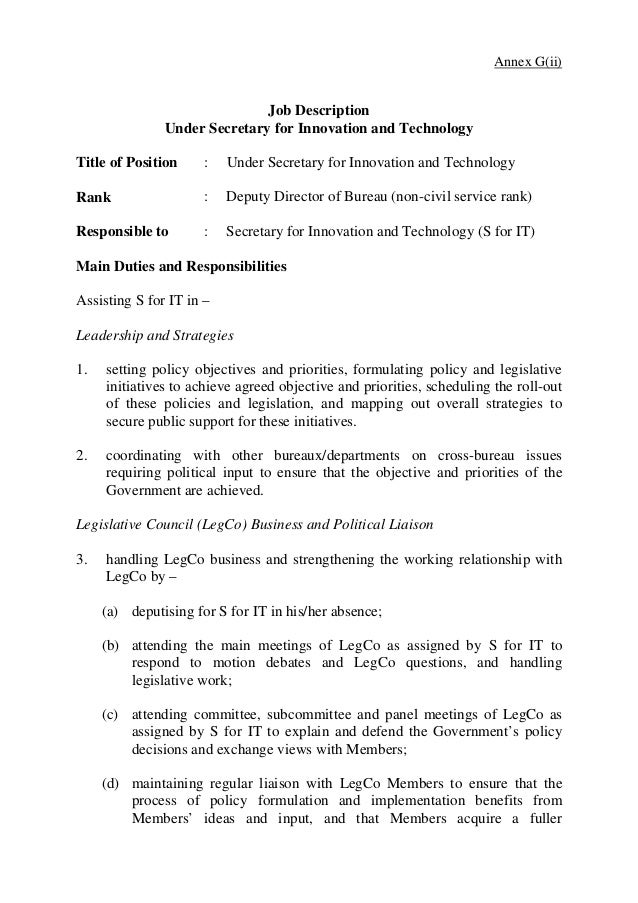 Lovely 3. Annex G(ii) Job Description Under Secretary ...