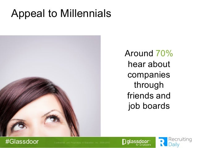 Confidential  and  Proprietary © Glassdoor,  Inc.  2008-2015#Glassdoor Appeal to Millennials Around 70% hear ab...