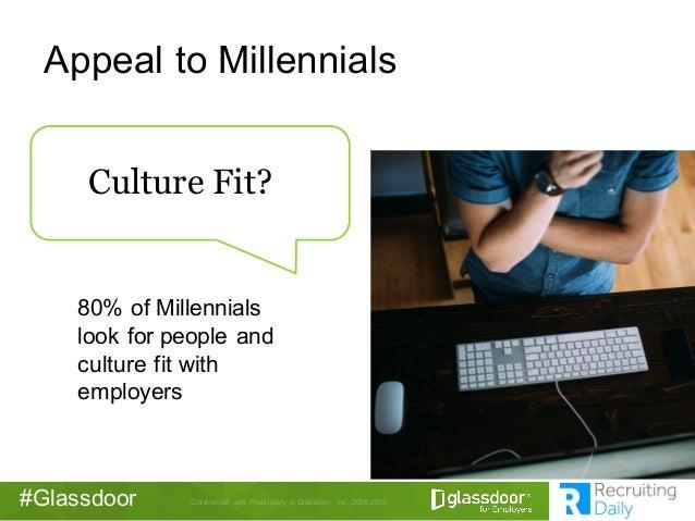 Confidential  and  Proprietary © Glassdoor,  Inc.  2008-2015#Glassdoor Appeal to Millennials 80% of Millennials...