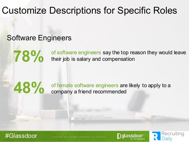 Confidential   and   Proprietary  ©  Glassdoor,   Inc.   2008-­2015#Glassdoor Software  Engineers 78% of  software  engine...