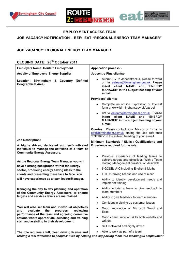 "EMPLOYMENT ACCESS TEAMJOB VACANCY NOTIFICATION – REF: EAT ""REGIONAL ENERGY TEAM MANAGER""JOB VACANCY: REGIONAL ENERGY TEAM ..."