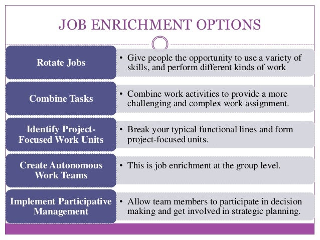 job enrichment and job enlargement Job enrichment, a job design technique that varies the concept of job enlargementjob enrichment adds new sources of job satisfaction by increasing the level of responsibility of the.