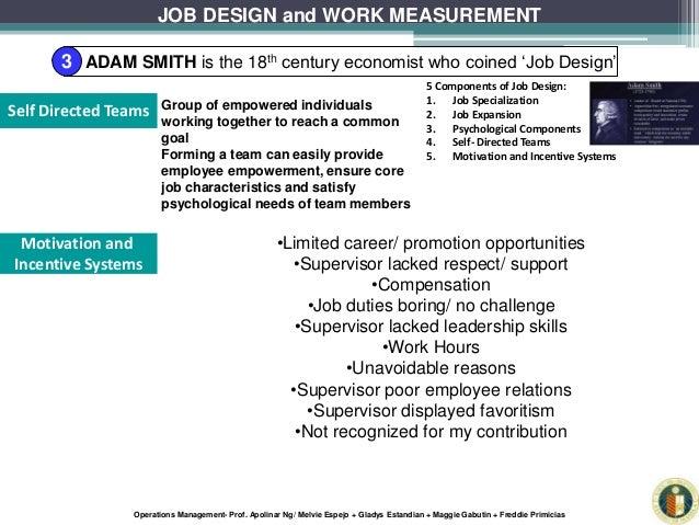 Job design and measurement operations management report