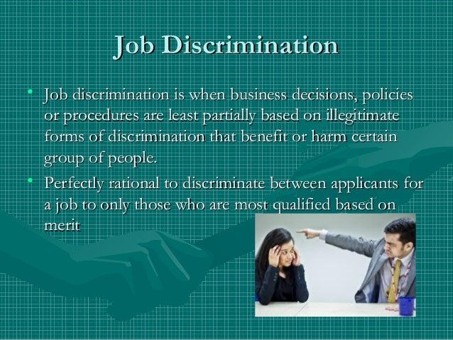 Exemplification job discrimination