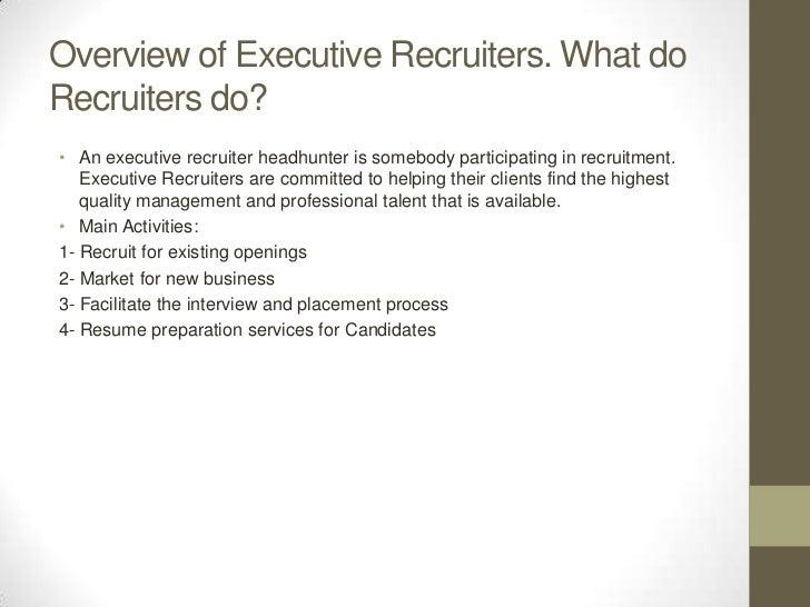 executive recruiters job description