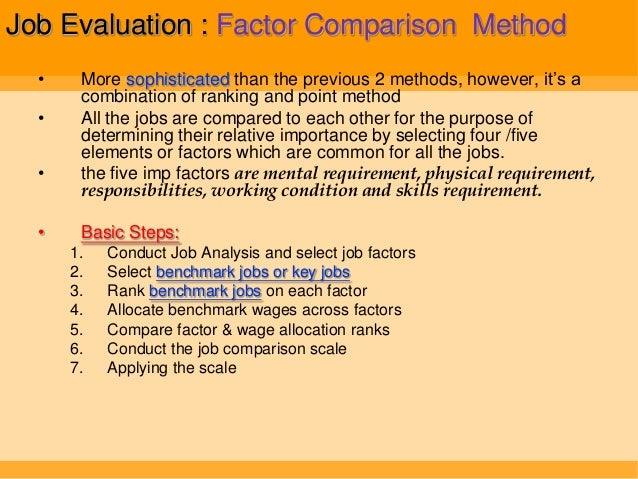 an assessment of job evaluation selection methods Every job evaluation method requires some basic job analysis in order to provide   job in relation to other job in the organisation, to select employees accurately.