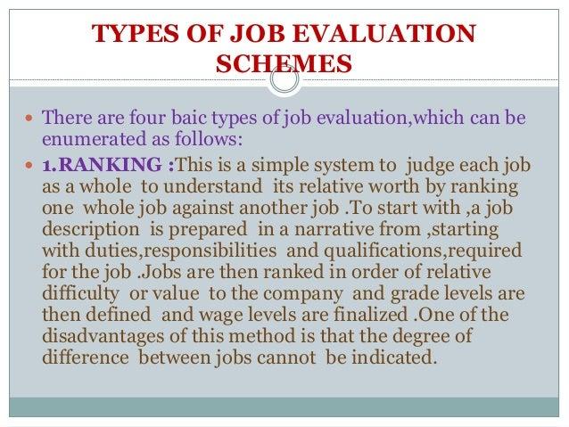Job evaluation, job evaluation methods, job evaluation process.