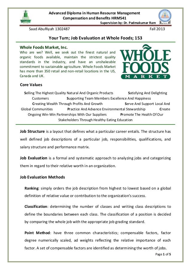 job evaluation at whole foods advanced diploma in human resource management compensation and benefits hrm541 supervision by dr padmakumar - Food Preparer Job Description