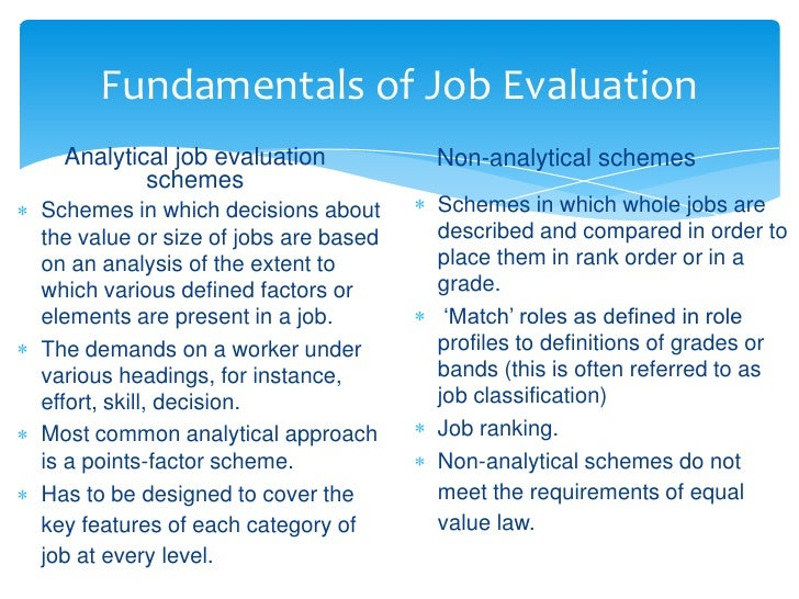 Job evaluation.