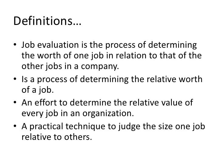 Job Evaluation Ppt
