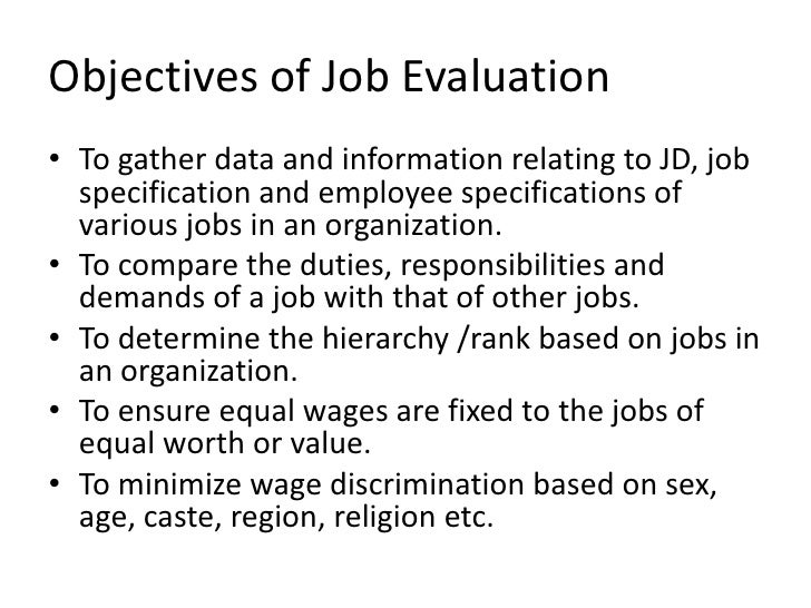 Job evaluation ppt – Job Objectives
