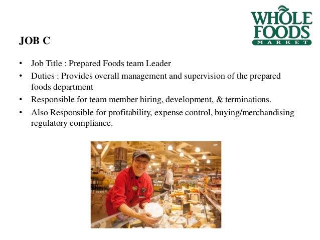 13 job title prepared foods team leader duties - Food Preparer Job Description
