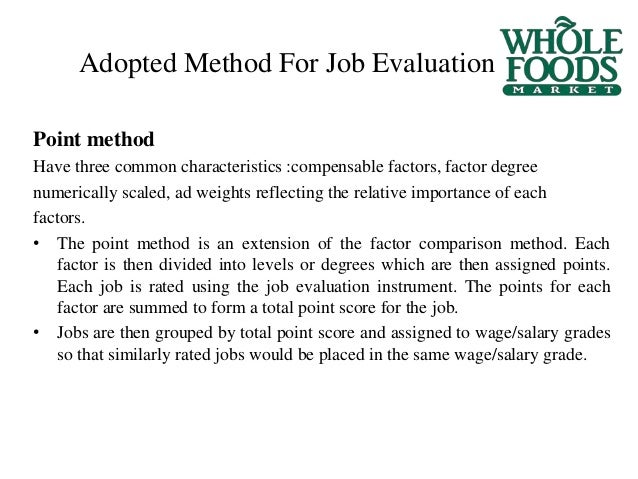 job evaluation at whole foods
