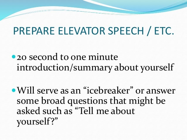 How to write a-one minute speech about yourself