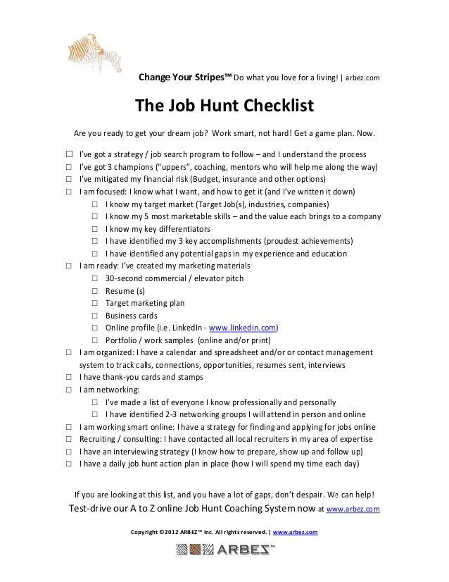 Job Hunt Checklist Are You Ready Arbez_2013
