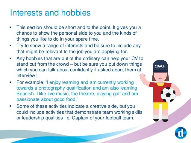examples of hobbies and interests for job application