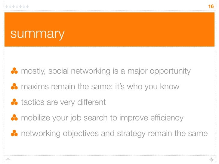 16     summary   mostly, social networking is a major opportunity  maxims remain the same: it's who you know  tactics are ...