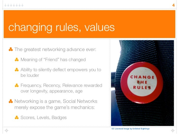 "4     changing rules, values  The greatest networking advance ever:     Meaning of ""Friend"" has changed     Ability to sil..."