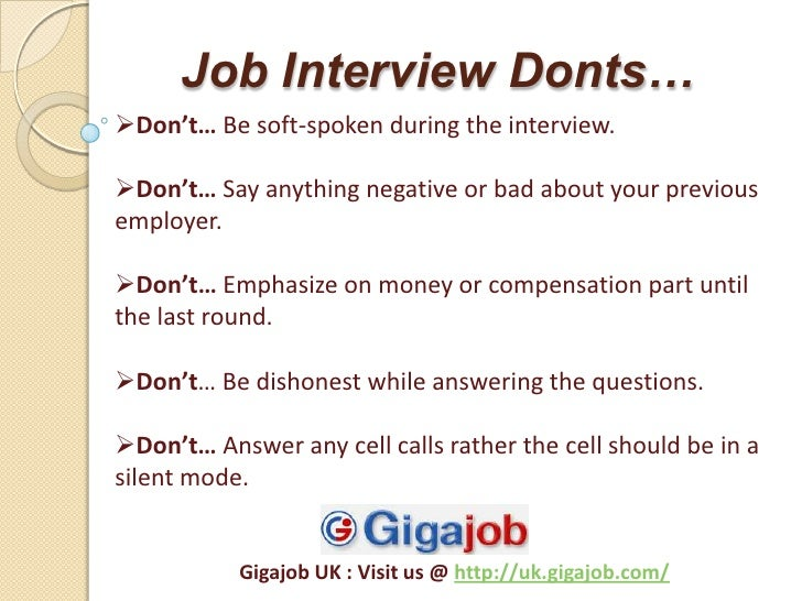 Job Interview Dos And Donts