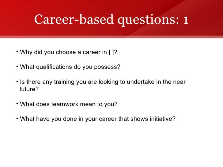 Great Career Based Questions: ...