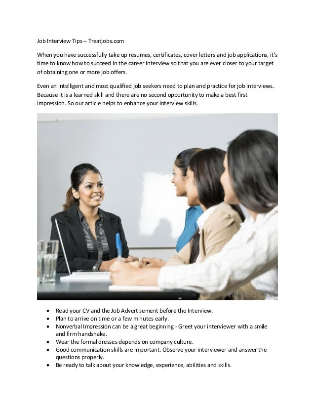 Job Interview Tips U2013 Treatjobs.com When You Have Successfully Take Up  Resumes, ...
