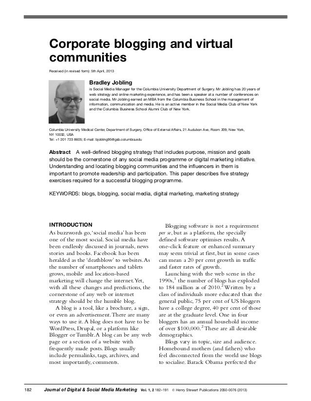 Corporate blogging and virtual communities Received (in revised form): 5th April, 2013  Bradley Jobling is Social Media Ma...
