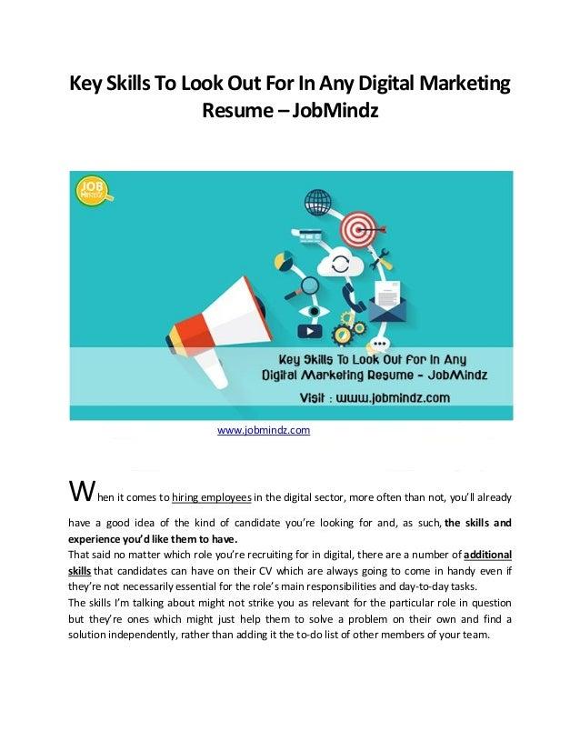 key skills to look out for in any digital marketing resume jobmindz wwwjobmindz