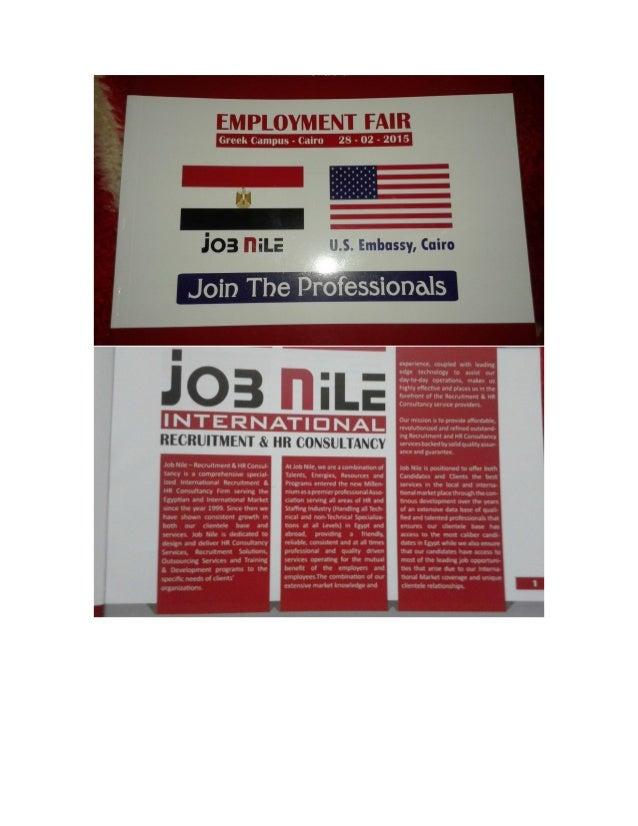 Job Nile fair booklet - U S Embassy - Greek Campus - 2015