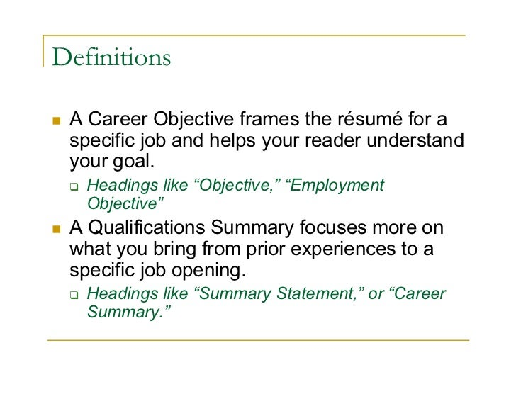 ... Activities References; 3. Definitions A Career Objective Frames The  Résumé ...  What Is Job Objective