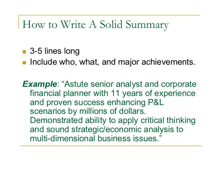Good How To Write A Solid Summary ...  How To Write A Job Summary