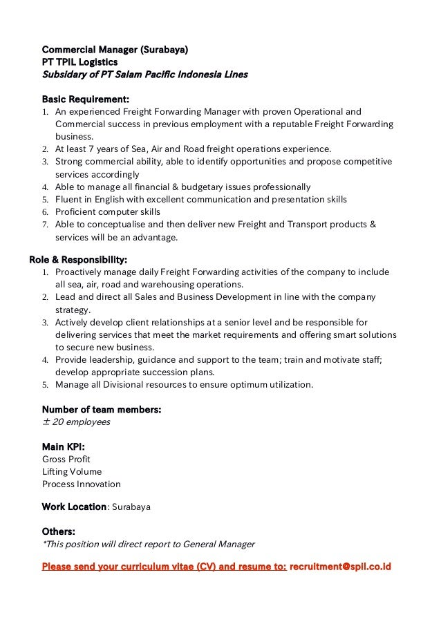 Job Offer Tpil Commercial ManagerSurabaya