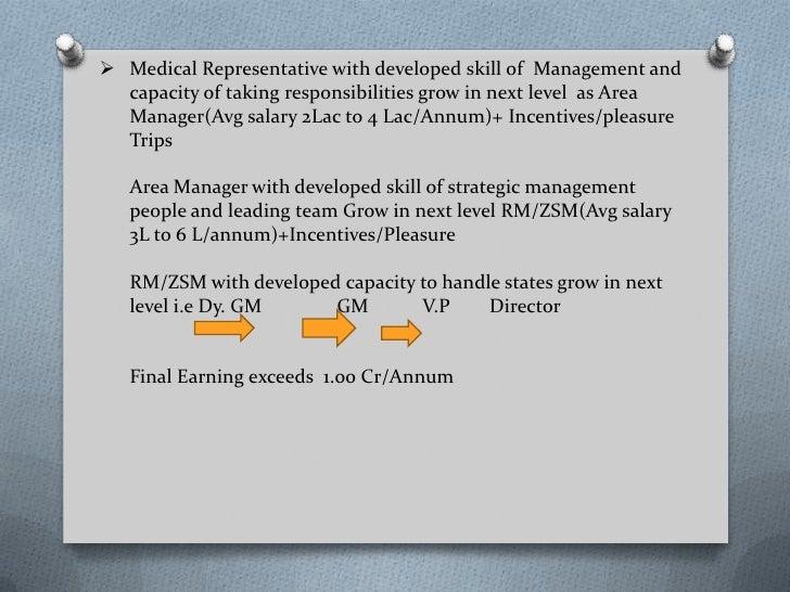 medical representative salary in india