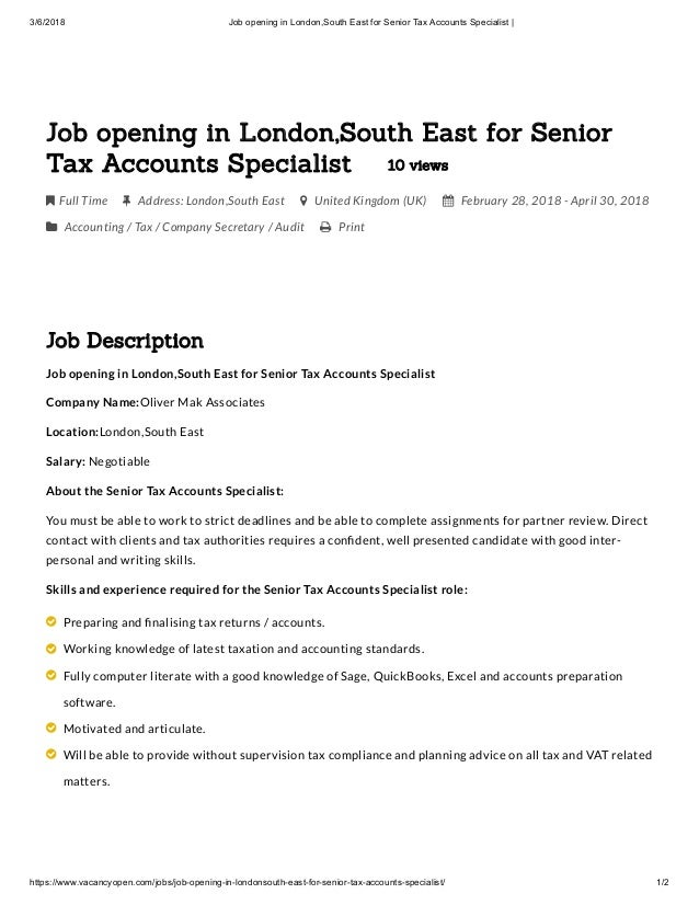 Job Opening In London South East For Senior Tax Accounts Specialist