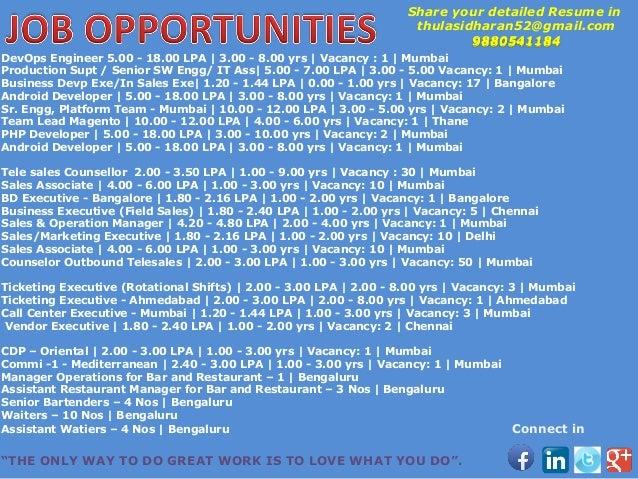 DevOps Engineer 5.00 - 18.00 LPA | 3.00 - 8.00 yrs | Vacancy : 1 | Mumbai Production Supt / Senior SW Engg/ IT Ass| 5.00 -...