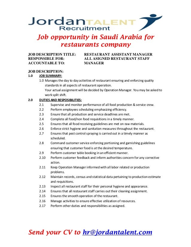 Job Opportunity In Saudi Arabia Asst Manager For Restaurants Company