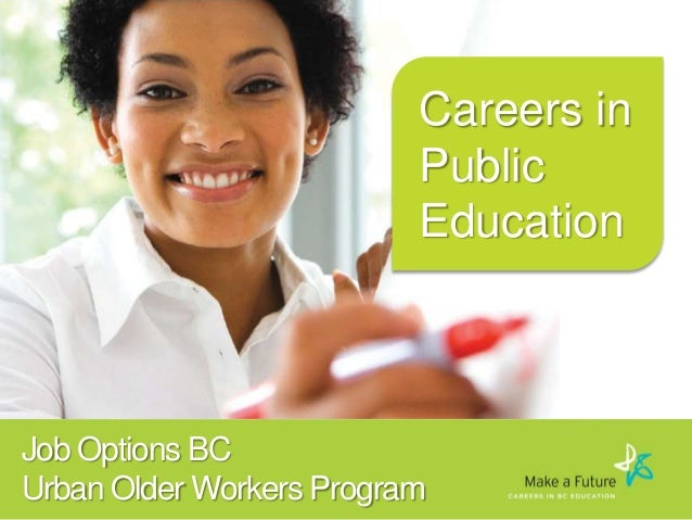 Careers in Public Education  Job Options BC Urban Older Workers Program